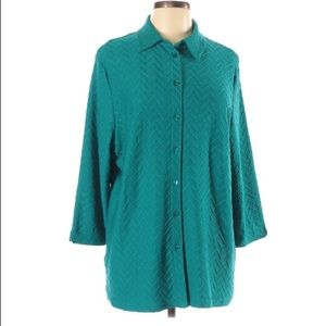 Alia Oversized Button Tunic Top, Size Large, Teal